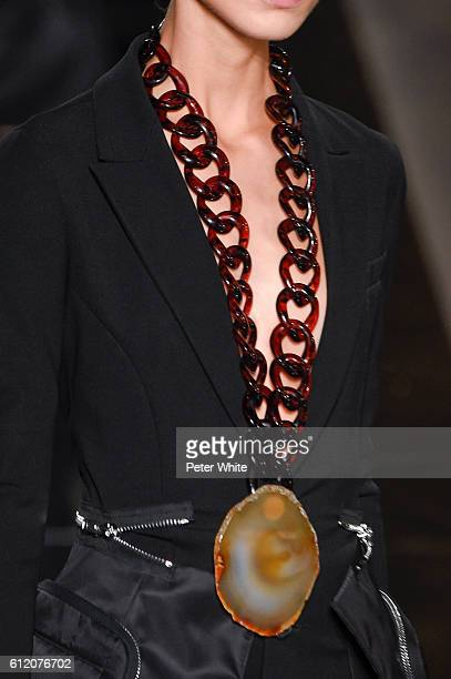 A model walks necklace detail the runway during the Givenchy show as part of the Paris Fashion Week Womenswear Spring/Summer 2017 on October 2 2016...