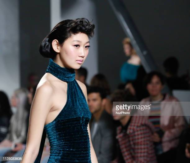 Model walks on a catwalk during Mark Fast show during the first day of the London Fashion Week United Kingdom on February 15 2019