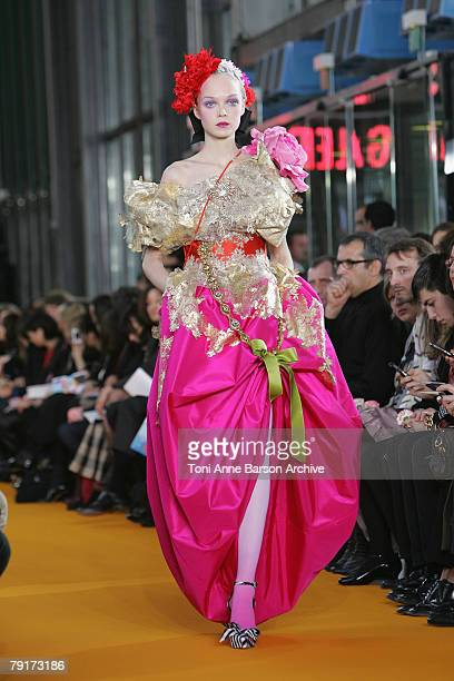 A model walks on the catwalk at the Christian Lacroix Fashion show during Paris Fashion Week SpringSummer 2008 at Centre Beaubourg on January 22 2008...
