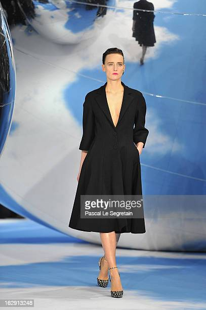 A model walks on the catwalk during Christian Dior Fall/Winter 2013 ReadytoWear show as part of Paris Fashion Week on March 1 2013 in Paris France