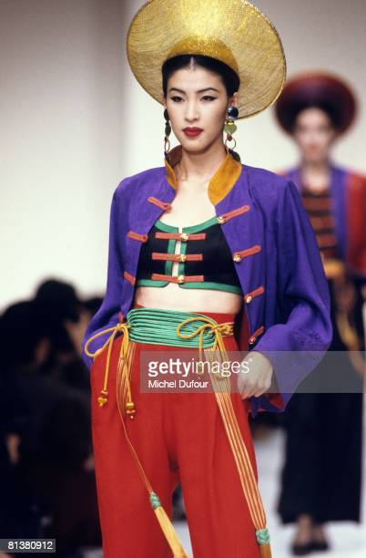 Model walks on the catwalks at YSL Ready to Wear Fashion Show Spring/Summer 1993 during the fashion week 1992 in Paris, France.
