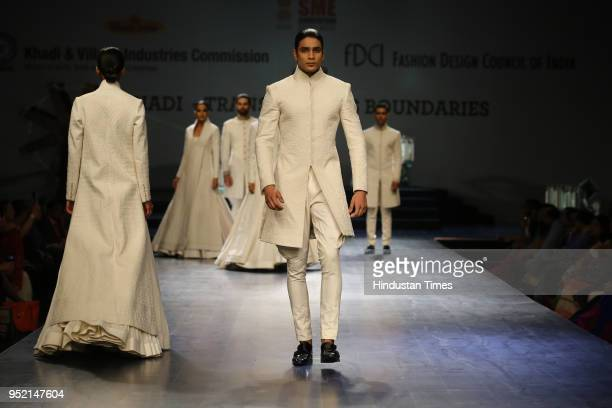 A model walks on the ramp during the event Khadi Transcending Boundaries It included a fashion show by designers Anju Modi Poonam Bhagat Payal Jain...