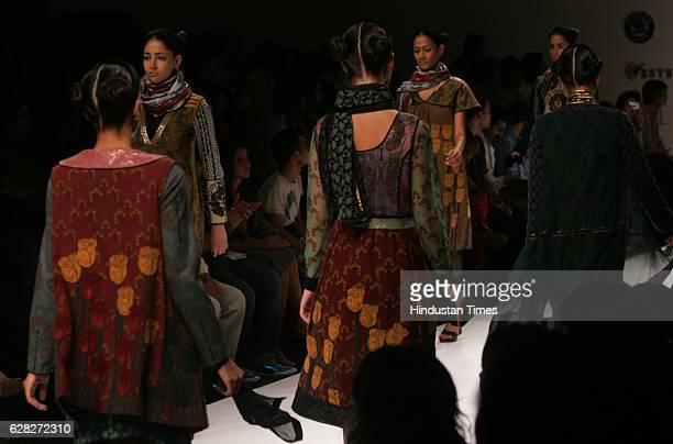 Model walks on the ramp in a Neha Agarwal creation at Lakme Fashion Week at Grand Hyatt.
