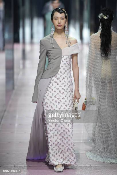 Model walks on the runway at Fendi 2021 Spring/Summer Haute Couture Show on March 19, 2021 in Shanghai, China.