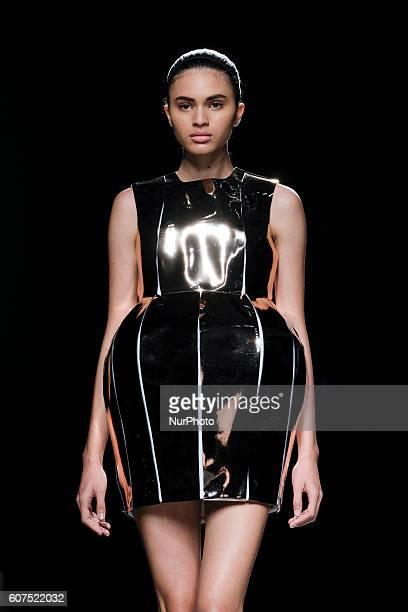 A model walks on the runway at the Amaya Arzuaga Fashion Show at Madrid Fashion Week Spring/Summer 2017/18 at Ifema on September 18 in Madrid Spain