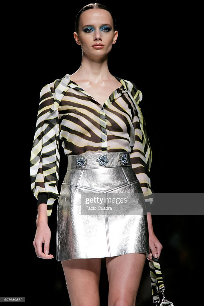 8bd4486f90 A model walks on the runway at the Felipe Varela show during Mercedes-Benz  Fashion