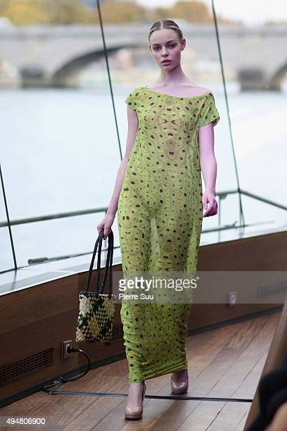A model walks on the runway at the Jessica Minh Anh's Autumn Fashion Show 2015 on October 29 2015 in Paris France