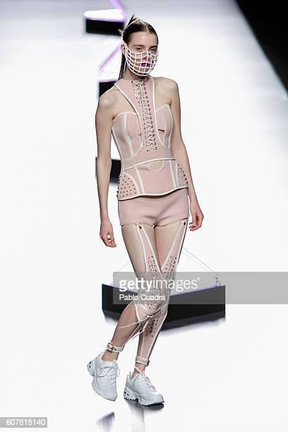 Model walks on the runway at the Maya Hansen show during Mercedes-Benz Fashion Week Madrid Spring/Summer 2017 at Ifema on September 18, 2016 in...