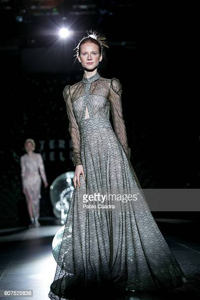 A model walks on the runway at the Teresa Helbig show during MercedesBenz Fashion Week Madrid Spring/Summer 2017 at Ifema on September 18 2016 in...