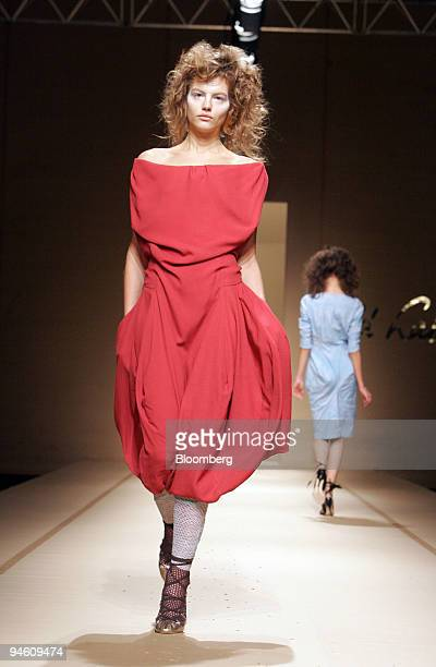 A model walks on the runway at the Vivienne Westwood Spring/Summer 2008 readytowear presentation in Paris France on Monday Oct 1 2007 Paris fashion...