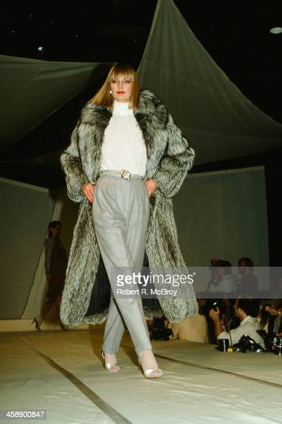 A model walks on the runway during an Anne Klein fashion show in New York April 23 1982