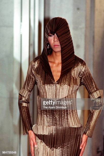 A model walks on the runway during Issey Miyake fashion show at the Tokyo Fashion Week on April 1 1989 in Tokyo Japan
