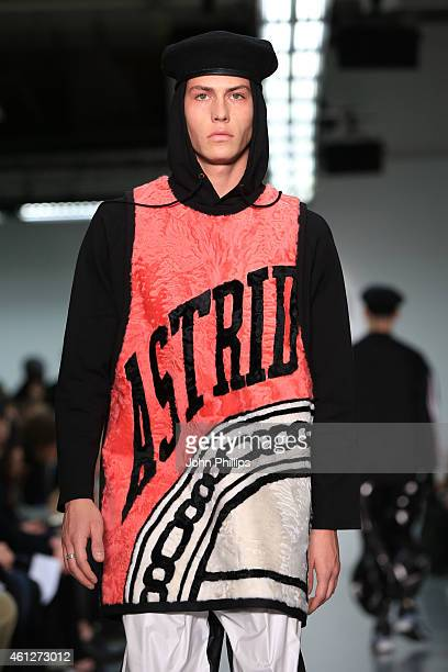 A model walks on the runway during the Astrid Andersen show at the London Collections Men AW15 at Victoria House on January 10 2015 in London England