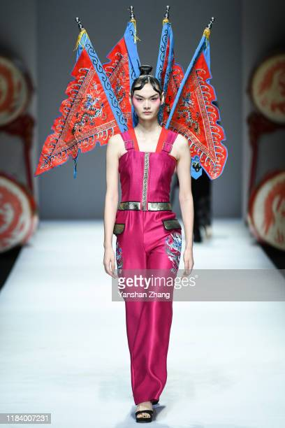 Model walks on the runway during the David Sylvia Show in the China Fashion Week on October 28, 2019 in Beijing, China.