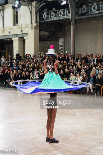 Model walks on the runway during the Issey Miyake Womenswear Spring/Summer 2020 show at Le 104 as part of Paris Fashion Week on September 27, 2019 in...