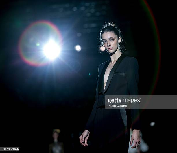 A model walks on the runway during the MercedesBenz Fashion Week Madrid Spring/Summer 2017 at Ifema on September 19 2016 in Madrid Spain