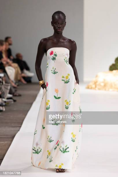 Model walks on the runway during the Oroton show during Afterpay Australian Fashion Week 2021 Resort '22 Collections at Carriageworks on June 1, 2021...