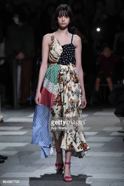 A model walks on the runway during the UNITED TOKYO show as part of Amazon Fashion Week Tokyo 2018 S/S at Omotesando Hills on October 21 2017 in...