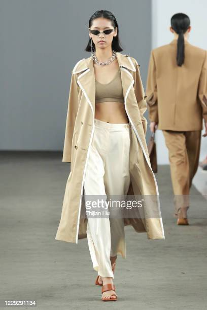 A model walks on the runway during the VIMAGE show in the Shenzhen Fashion Week S/S 2021 on October 26 2020 in Shenzhen China