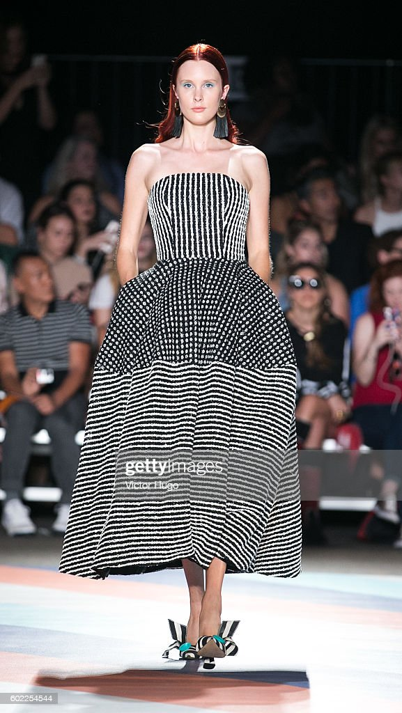 Model walks runway at Christian Siriano - Front Row - September 2016 - New York Fashion Week: The Shows at ArtBeam on September 10, 2016 in New York City.