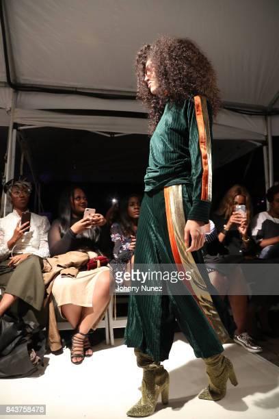 Model Walks Runway at Harlem's Fashion Row at La Marina Restaurant Bar Beach Lounge on September 6 2017 in New York City