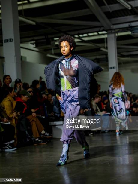 A model walks runway at the Marques'Almeida show during London Fashion Week February 2020 at The Old Truman Brewery on February 15 2020 in London...
