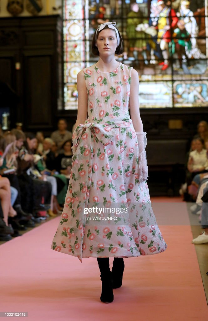 A model walks runway at the Ryan LO Show during London Fashion Week September 2018 at Stationers Hall on September 14, 2018 in London, England.