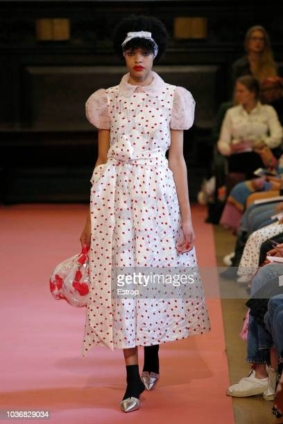 A model walks runway at the Ryan LO Show during London Fashion Week September 2018 at XXXXX on September 14 2018 in London England