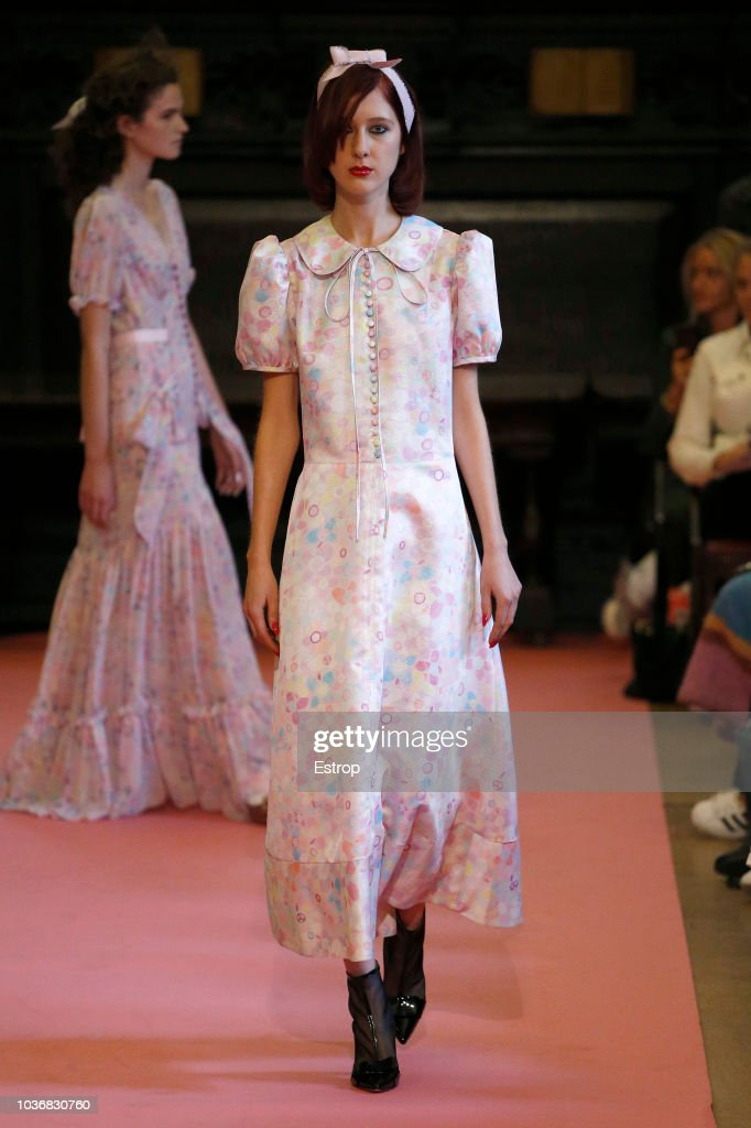 A model walks runway at the Ryan LO Show during London Fashion Week September 2018 at XXXXX on September 14, 2018 in London, England.