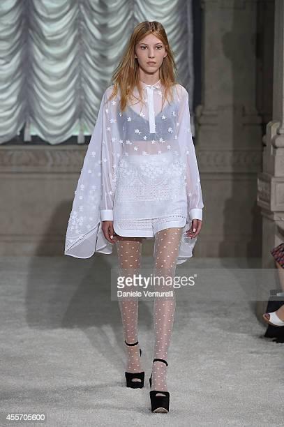 A model walks runway during the Giamba Show as part of Milan Fashion Week Womenswear Spring/Summer 2015 on September 19 2014 in Milan Italy
