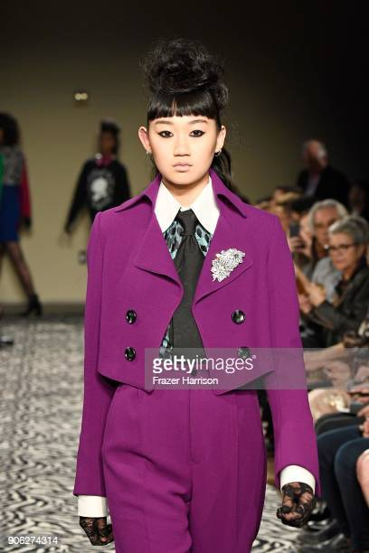 Model walks runway during the Wolk Morais Collection 6 Fashion Show at The Hollywood Roosevelt Hotel on January 17 2018 in Los Angeles California