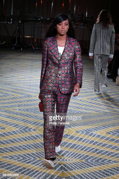 Model walks runway during the Wolk Morais Collection 7 Fashion Show at The Jeremy Hotel on June 26 2018 in West Hollywood California