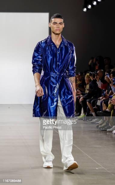 A model walks runway for Carlos Campos Spring/Summer 2020 mens collection during New York Fashion Week at Spring Studios Manhattan