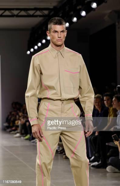 Model walks runway for Carlos Campos Spring/Summer 2020 mens collection during New York Fashion Week at Spring Studios, Manhattan.