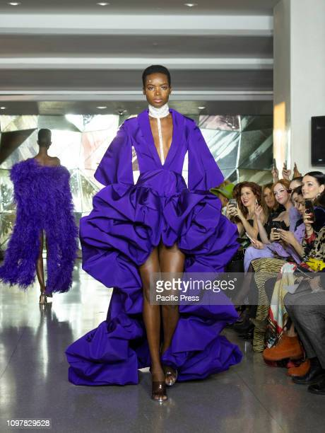 Model walks runway for Christian Siriano New York fashion week Fall/Winter 2019 collection at Top of the Rock Rockefeller Center.