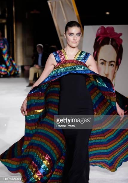 A model walks runway for Christian Siriano Spring/Summer 2020 collection during New York Fashion Week at Gotham Hall Manhattan