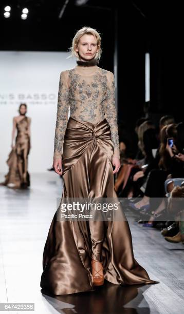A model walks runway for Dennis Basso FW17 collection runway show during New York Fashion Week at Skylight Clarkson Sq Manhattan