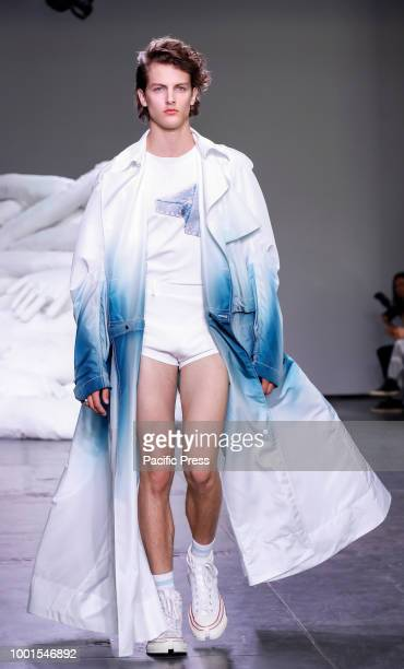 A model walks runway for Feng Chen Wang Spring/Summer 2019 runway show during NY Fashion Week Men's at Industria Studios Manhattan