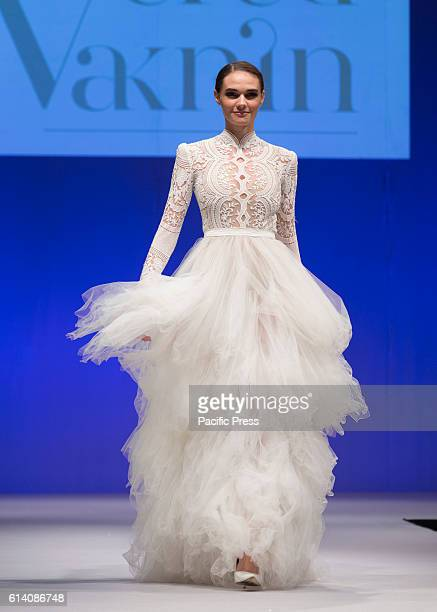 Model walks runway for Israeli designers show by Vered Vaknin during New York Bridal week at Pier 94