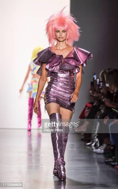 Model walks runway for Jeremy Scott during New York Fashion Week Spring/Summer 2020 at Spring Studios.