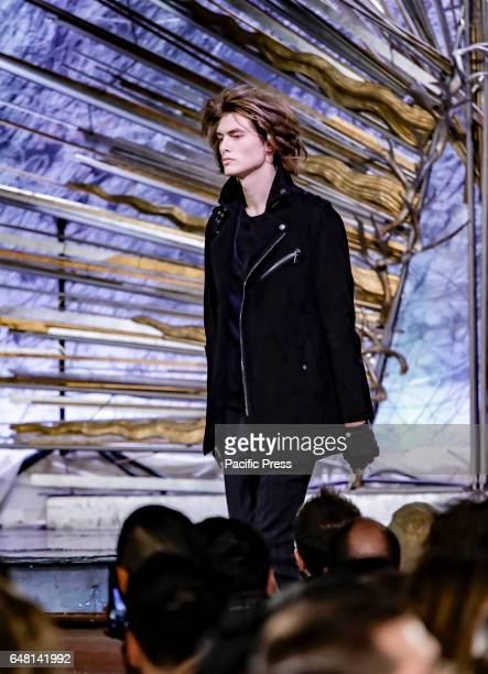 Model walks runway for John Varvatos Fall/Winter 2017 runway show during NY Fashion Week: Men's at Paramaunt Hotel, Manhattan.