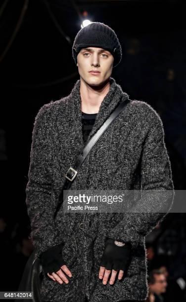 A model walks runway for John Varvatos Fall/Winter 2017 runway show during NY Fashion Week Men's at Paramaunt Hotel Manhattan