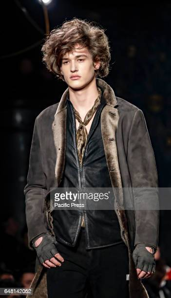 A model walks runway for John Varvatos Fall/Winter 2017 runway show during NY Fashion Week Men's at Paramaunt Hotel Manhattan