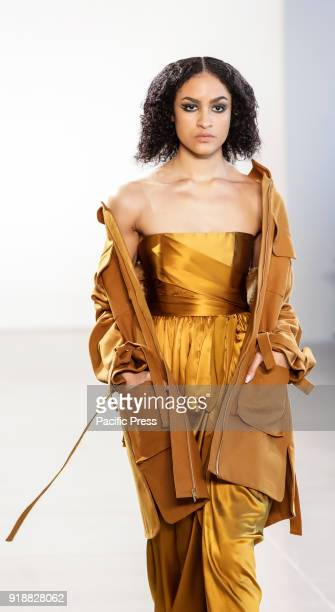 A model walks runway for Leanne Marshall Fall/Winter 2018 runway show during New York Fashion Week at Spring Studios Manhattan