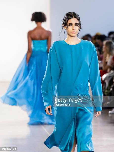 Model walks runway for Leanne Marshall Fall/Winter 2018 runway show during New York Fashion Week at Spring Studios, Manhattan.