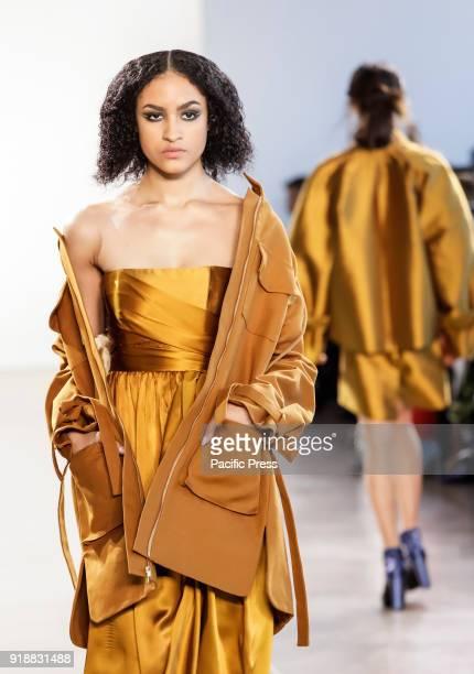 A model walks runway for Leanne Marshall Fall/Winter 2018 runway show during New York Fashion Week at Spring Studios Manhattan