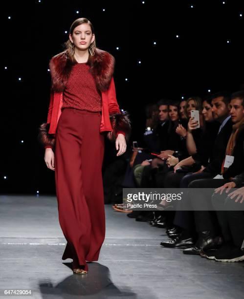 A model walks runway for Oday Shakar Fall/Winter 2017 collection runway show during New York Fashion Week at Pier 59 Studios Manhattan