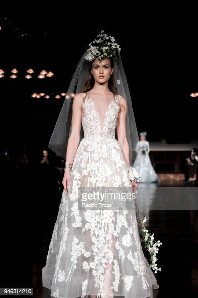 Model walks runway for Reem Acra Bridal Spring/Summer 2019 runway show during NY Bridal Wweek at NY Public Library, Manhattan.