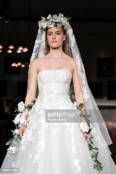 A model walks runway for Reem Acra Bridal Spring/Summer 2019 runway show during NY Bridal Wweek at NY Public Library Manhattan