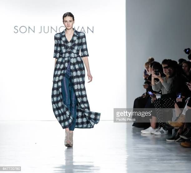 A model walks runway for Son Jung Wan Fall/Winter 2017 collection runway show during New York Fashion Week at Skylight Clarkson Sq Manhattan